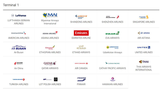 Terminal1 : LUFTHANSA GERMAN AIRLINES, Myanmar Airways International, SHANDONG AIRLINES, SHENZHEN AIRLINES, SINGAPORE AIRLINES, AMERICAN AIRLINES, ASIANA AIRLINES, EMIRATES AIRLINE, EVA AIRWAYS, AIR ASTANA, Air Busan, ETHIOPIAN AIRLINES, ETHAD AIRWAYS, Uzbekistan Airways, UNITED AIRLINES, Air China, QATAR AIRWAYS, AIR CANADA, CATHAY PACIFIC AIRWAYS, THAI AIRWAYS INTERNATIONAL, TURKISH AIRLINES, LOT POLISH AIRSLINES, FINNAIR, HAWAIIAN AIRLINES